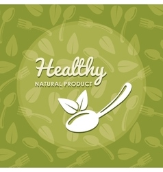 Leaf and spoon icon Natural and organic product vector image