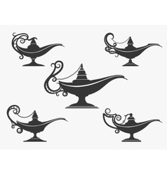 Aladdin lamp icon set vector