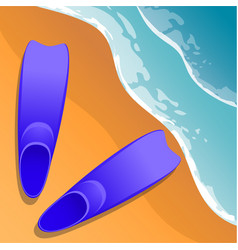 beach background flippers in the sand sea shore vector image vector image