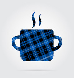 Blue black tartan icon - cooking pot with smoke vector