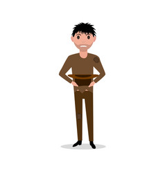 cartoon man dirty indigent beggar homeless vector image