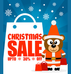 Christmas sale background with funny bear vector