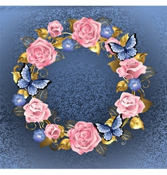 Circle of pink roses vector