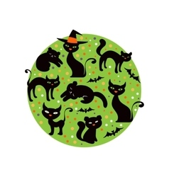 Colorful round composition with black cats vector image vector image