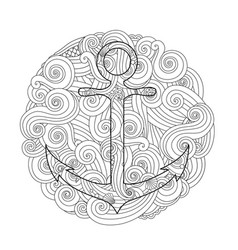 Coloring page with anchor in wave mandala vector