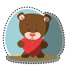 cute bear teddy icon vector image