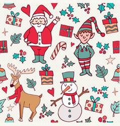 Cute christmas winter santa doodle background vector
