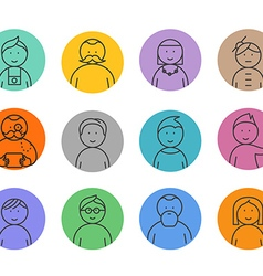 Different faces lineart collection vector image vector image