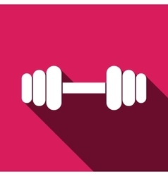 Dumbbell icon with long shadow vector image vector image