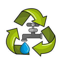 Faucet with water drop inside of recycling symbol vector