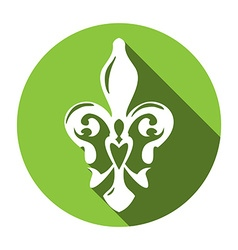 Fleur de lis symbol with long shadow White lily in vector image