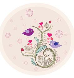 Flower vintage doodle florals and birds vector