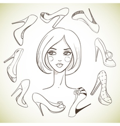 Girl and shoes Sketch style vector image vector image
