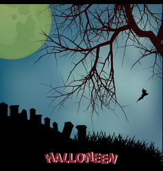 Halloween background with creepy tree graveyard vector