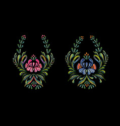 hand drawn vintage floral ornament on black vector image