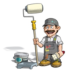 Handyman painter gray uniform vector