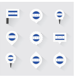 Honduras flag and pins for infographic and map vector