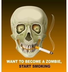Human skull smoking cigarette Harm of smoking vector image