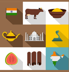 India icon set flat style vector