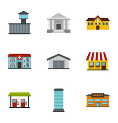infrastructure icons set flat style vector image