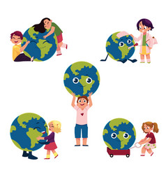 Kids hugging holding playing with globe earth vector