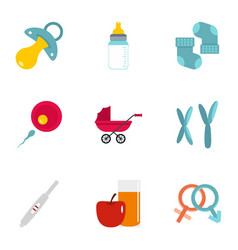 Pregnancy symbols icons set flat style vector