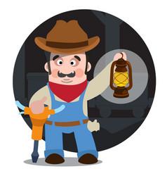 Prospector cowboy wild west cartoon character of vector