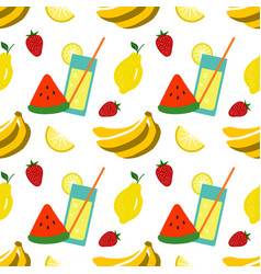 Seamless pattern with summer fruits vector