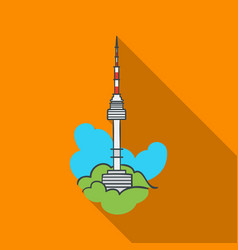 seoul tower icon in flate style isolated on white vector image vector image