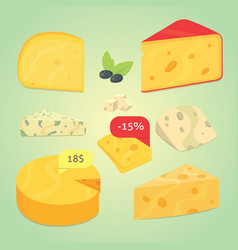 Set cheese vector