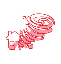 Silhouette tornado taking and destruction a house vector