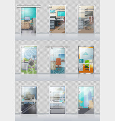 Transparent door set with view on study objects vector