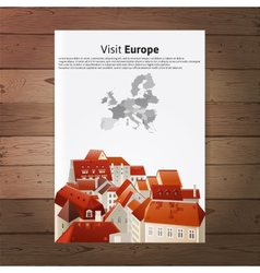 Visit Europe placard with city landscape vector image