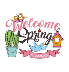 Welcome spring poster bird butterfly cactus ribbon vector