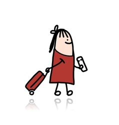 Woman with suitcase and ticket cartoon vector image vector image