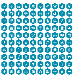 100 children icons sapphirine violet vector image vector image