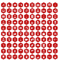 100 hotel services icons hexagon red vector