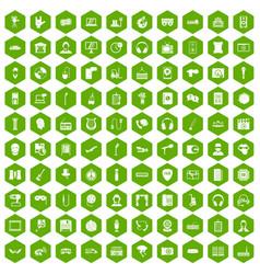 100 microphone icons hexagon green vector image vector image