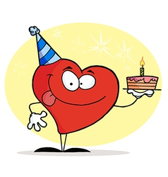 Red heart wearing a hat and holding a cake vector