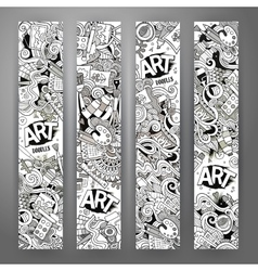 Cartoon doodles art banners vector