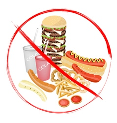 No eat carbonated drinks and fast food vector