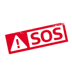 Sos rubber stamp vector