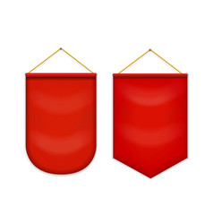 Red pennant hanging on the wall mockup vector