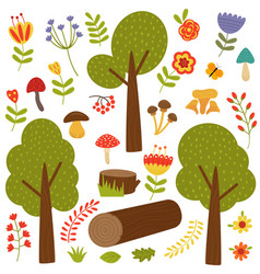 Set of isolated trees and plants vector
