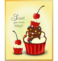 Chocolate cupcakes cherry and mini cupcake vector