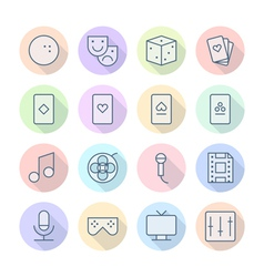Icons line round leisure thin vector