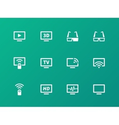Tv icons on green background vector