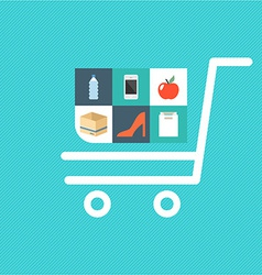 Flat shopping icons vector