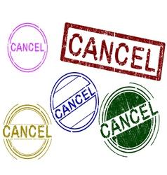 5 grunge stamps cancel vector