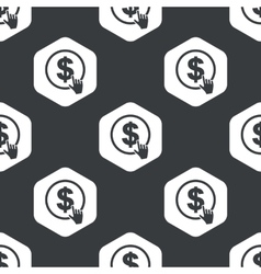Black hexagon dollar click pattern vector